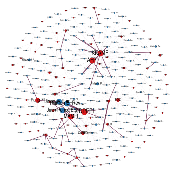 The full bipartite network generated from Annex A of the SAO report by the COA. The red nodes represent NGO-nodes, while the blue nodes represent Legislator-nodes. The size of the nodes show the total amount associated to the nodes.