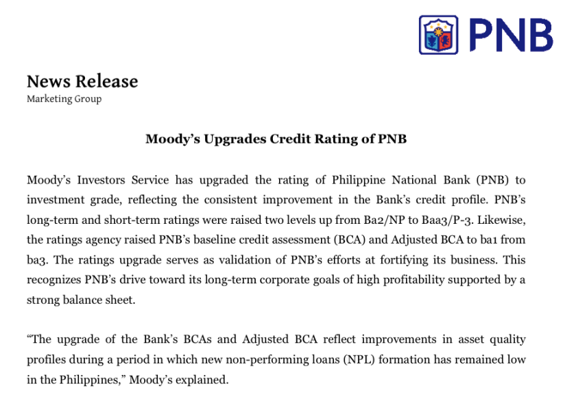 PNB Press Release on Upgrade